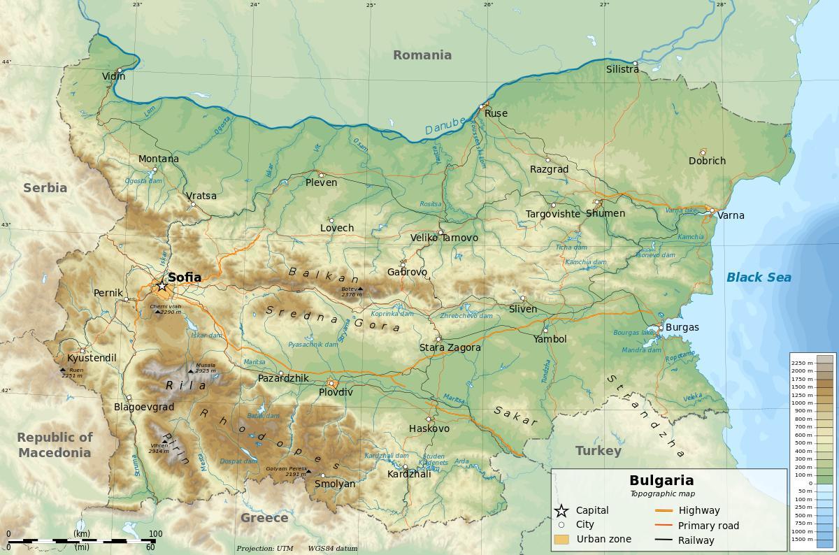 Bugarska Geografiju Mapu Mapa Bugarska Geografije Istocne