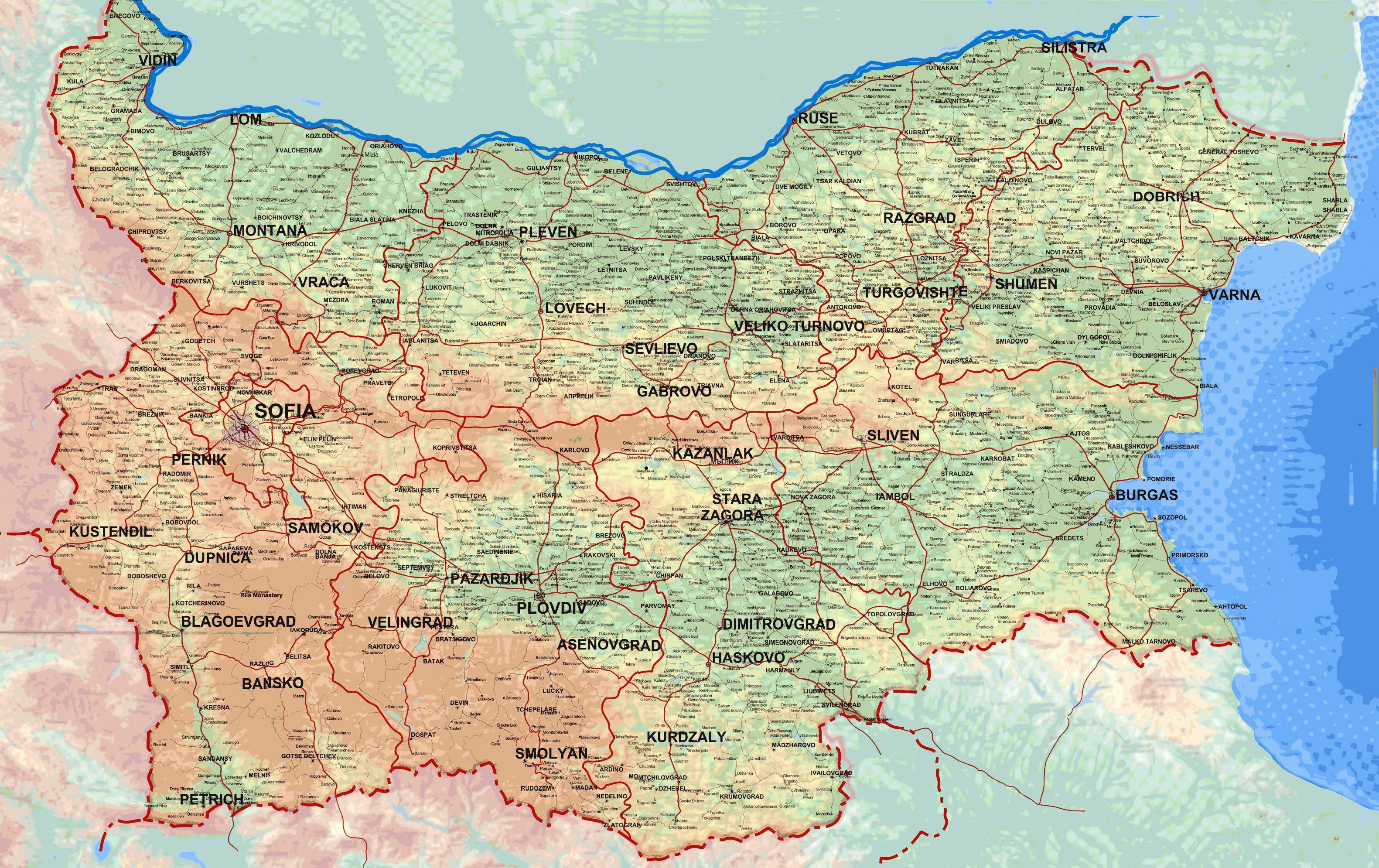 Detaljne Mapu Bugarske Mapu Za Detaljne Mapu Bugarske Istocne