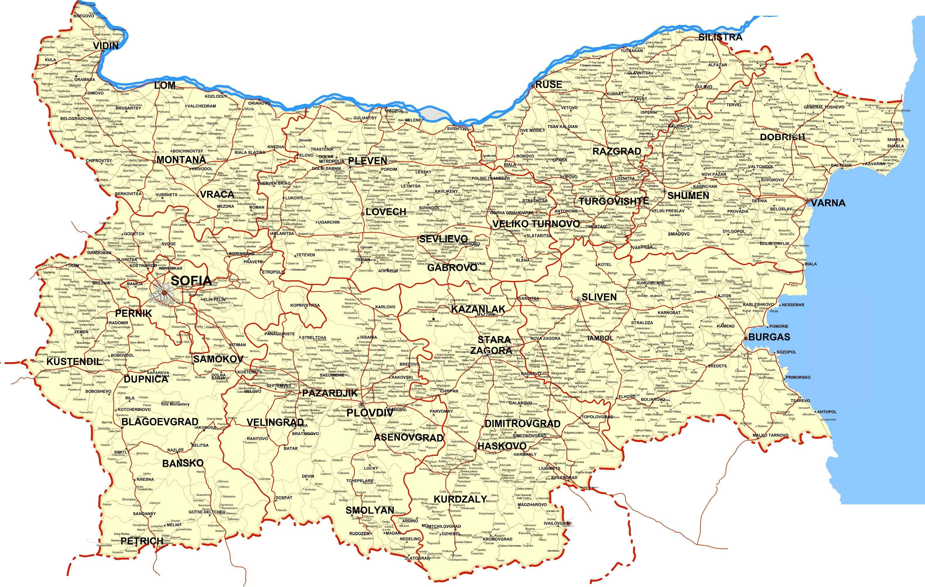 Mapa Bugarska Bugarska Zemlji Mapu Istocne Evrope Evropi